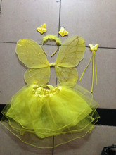 Hot sale lovely yellow butterfly wings costume fairy wings for girls QFW-1026