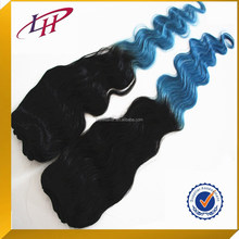 New product ,popular two tone balck&blue human hair double drawn weaving , body wave 100% Indian human hair extensions