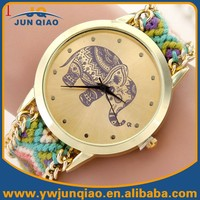 2015 fabric weave elephant dial no number no brand golden case watches