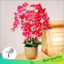 wholesale red artificial orchids plants for hotel decoration silk flower bonsai
