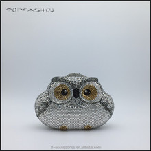 Animal shape 2014 designer crystal and rhinestone evening bags lovely owl box evening clutches TFC1566