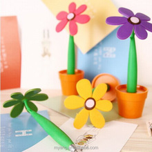 Whloesale Promotional silicone flower ball pen with pot ,advertising ball pen