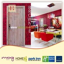 Fashional and international wooden hotel room door