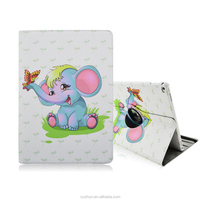 12.9inch Folio Stand 360-Degree Rotating with Elastic Belt Cute Small Elephant Design PU Leather Tablet Cover Cases For iPad Pro