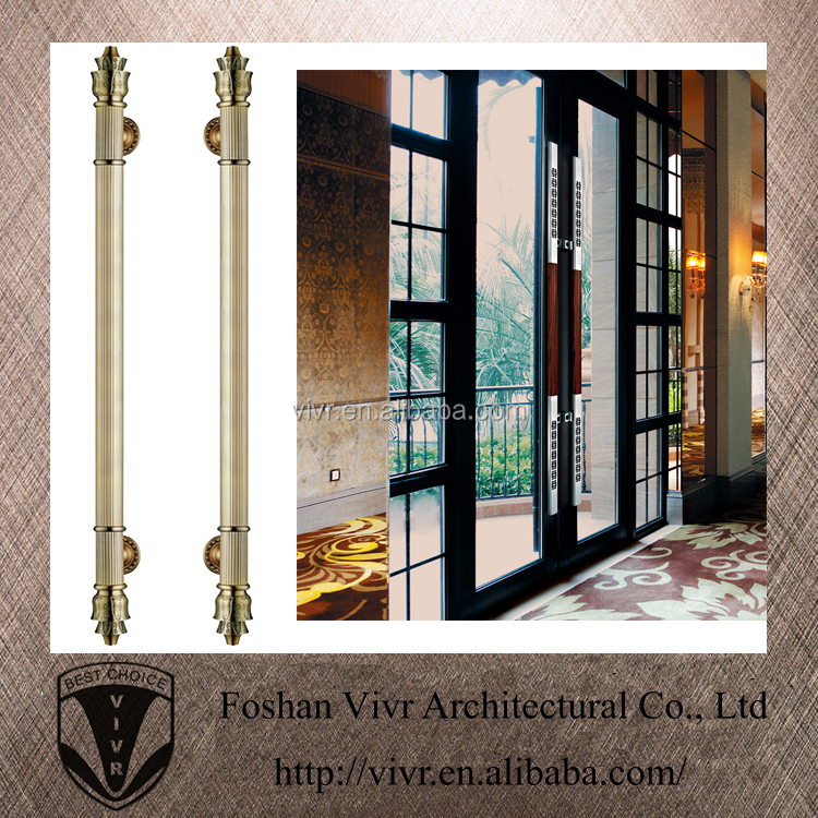 Nonrust metal round tube stripe long pull stainless steel handle for large glass door buy for Pull long et large