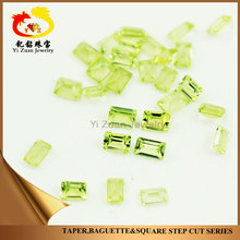 Good Artificial Olive Green Rectangle Step cut Rough cubic zirconia CZ Stone