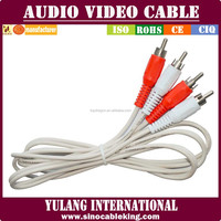 factory providing white 2RCA-2RCA/3RCA-3RCA/3.5ST-2RCA audio video wire cable for DVD/VCD/STB/VCR/HDTV for Thailand
