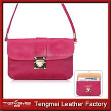 Universal 5.5 inch PU Leather Shoulder Wallet Bag phone Case Neck Strap -Rose
