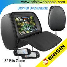 "Erisin ES998D 9"" Car Headrest TFT LED TV DVD IR&FM Transmitter"