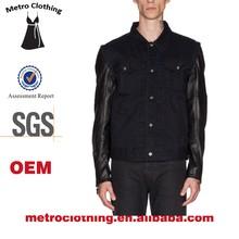2015 OEM Manufacturer High Quality custom man black leather sleeves denim jacket