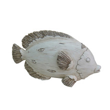 White tropical fish figurine with imitate woodcarving finish; Polyresin tropical fish sculptures for home decor.