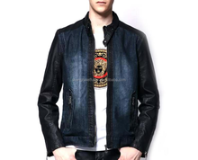 Italy Style mens denim jacket with leather sleeves