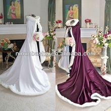 NW-390 Silk Satin Wedding Fur Coat