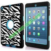 Dual Color Zebra Stripes Design Hybrid Silicone and PC Hard Case for iPad Mini Retina