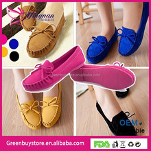 Free Shipping Casual Flat Shoes Bow-Knot Round Toe Slip Candy Color Loafer Shoes Spring Comfortable Women Shoes