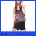 Bulk Wholesale Clothing nueva moda de lujo mujeres blusa gasa de la impresión abstracta halter top sexy ropa transparente