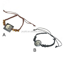 China Bead Manufacturers Wristband Bracelet With Decorative Carved Bone Centre Piece