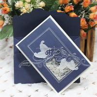 Sell High Quality Royal Blue Blank Wedding Invitation Cards in Guangzhou