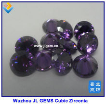 synthetic dark amethyst round machine cut cubic zirconia gemstone