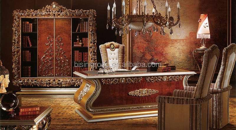 Bisini Luxury Wooden Executive Desk Set Italian Office