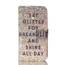 Glitter Shine All Day Quote Leather Case for IPhone 4 4s
