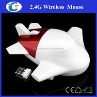 Cute Airplane Shaped Premium Gift Wireless Mouse With Mini USB Receiver