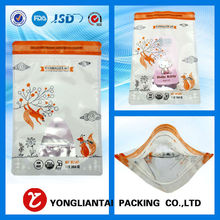 Plastic snack packaging stand up pouch pretzel bag, plastic foo packaging bag