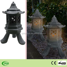 New products polyresin house furnace solar light for garden decoration crafts