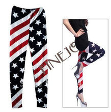 New Fashion Women American USA Flag Stripe Star Leggings Lady Summer Skinny Tights Cropped Jeans 5867