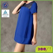 2015 atacado moda verão azul de manga curta gola redonda vestidos de renda elegante curto para Fat