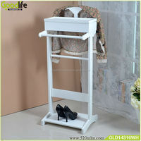 Hot Sale Inventory Wood Suit Clothes Valet Stand in White