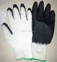 BSSAFETY Small cheap black latex rubber palm coated safety work gloves