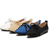 New fashion ladies flat shoes lace-up dress shoes fancy pointed toe flat lace-up office shoes CP6832