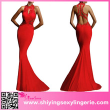 China Wholesale Open Back Fine Flowers Wedding Evening Red Dress With Long Train