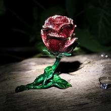 Best selling enamel pewter trinket box Rose