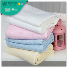 Solid Light Color Portable Cotton Cellular Blanket Made in China