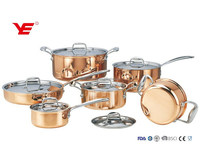 NO MOQ luxury 12pcs Triply copper stainless steel induction cookware set with casserole in gift box