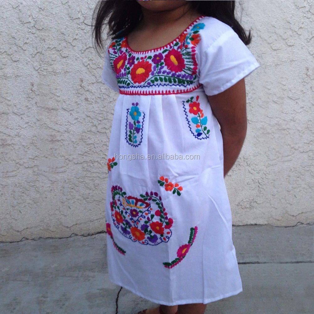 Vintage Mexican Embroidered Dress Latest Smoking Dress Designs For Flower Girls HSD1290-8.JPG