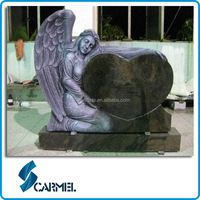 American Granite Headstone with Angel Carving