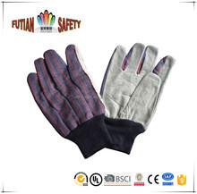 FTSAFETY cow split leather palm with canvas back safety working mitt