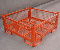 Foldable Orange Steel Wire Mesh Pallet Container With Wheels For Sale RH-C05