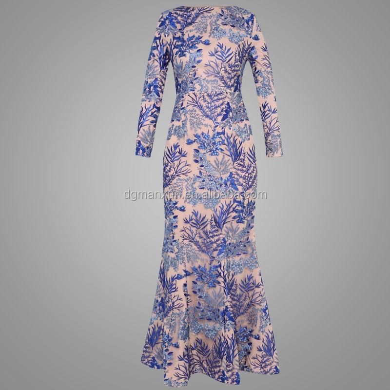 royal blue lace mermaid fashion muslim dress