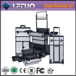 rolling aluminum makeup case with wheels and handle cheap makeup cases Cosmetic Bags & Cases