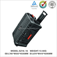 Carrying camera equipment case with handle