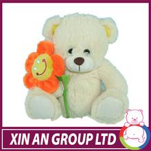 popular pure white bear plush teddy bear with flower