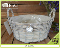 Hot home decoration storage willow and iron basket