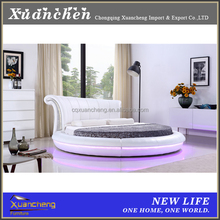 round bed,white leather bed with led light