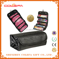 china cosmetic factory folding roll n go zipper 600D oxford large cosmetic bags with compartments