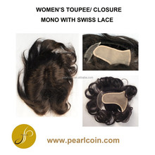 Human Hair Chinese Indian Virgin Natural Hair Mono with Swiss lace Women's Toupee Closure