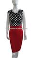 moda para mujer de la rodilla- longitud vestido casual club party vendaje bodycon vestido de lápiz de color rojo lunares vestido